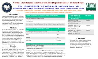Cardiac Dysautonomia in Patients with End Stage Renal Disease on Hemodialysis