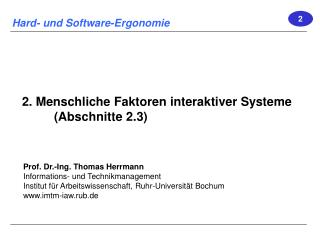 2. Menschliche Faktoren interaktiver Systeme (Abschnitte 2.3)