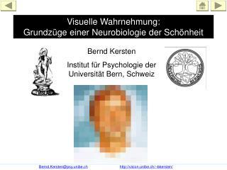 Visuelle Wahrnehmung:  Grundz�ge einer Neurobiologie der Sch�nheit