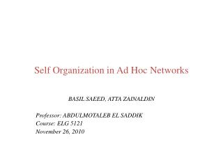 Self Organization in Ad Hoc Networks