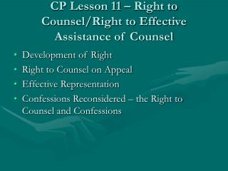 CP Lesson 11   Right to Counsel