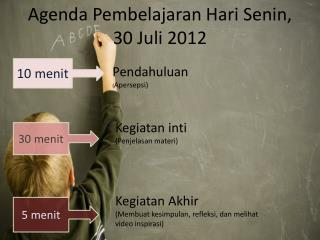 Agenda  Pembelajaran Hari Senin , 30  Juli  2012