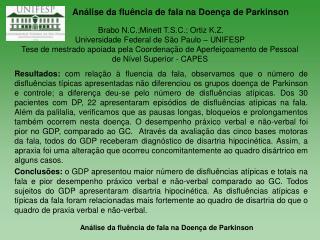 Análise da fluência de fala na Doença de Parkinson