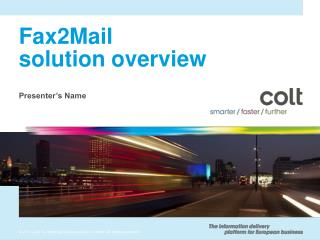 Fax2Mail solution overview