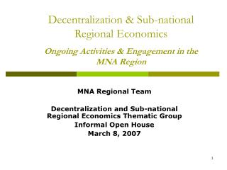 MNA Regional Team Decentralization and Sub-national Regional Economics Thematic Group