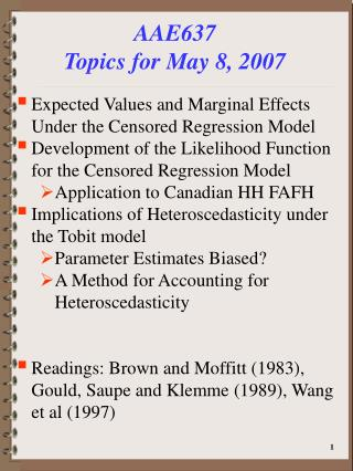 AAE637 Topics for May 8, 2007