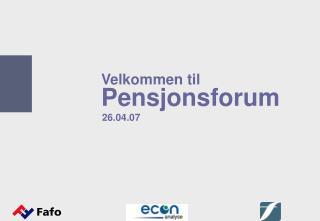 Velkommen til  Pensjonsforum