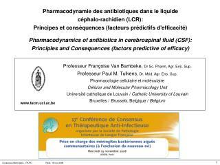 Professeur Françoise Van Bambeke,  Dr Sc. Pharm, Agr. Ens. Sup.