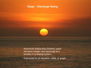 Stage   Discharge Rating
