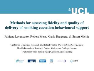 Methods for assessing fidelity and quality of delivery of smoking cessation behavioural support