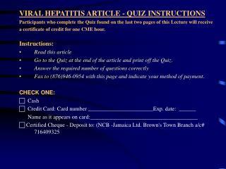 VIRAL HEPATITIS ARTICLE - QUIZ INSTRUCTIONS