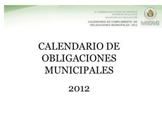 CALENDARIO DE OBLIGACIONES MUNICIPALES 2012