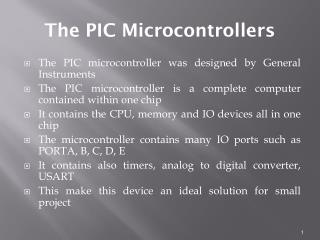The PIC Microcontrollers