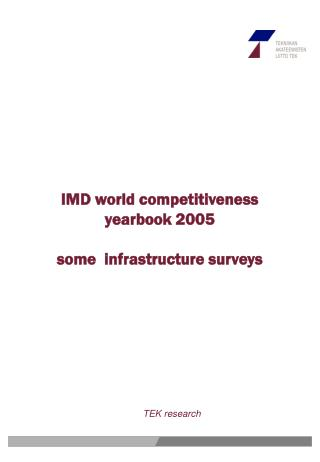 IMD world competitiveness yearbook 2005 some  infrastructure surveys