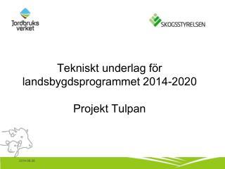 Tekniskt underlag för landsbygdsprogrammet 2014-2020 Projekt Tulpan