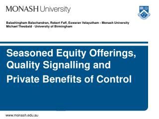 Seasoned Equity Offerings, Quality  Signalling and  Private Benefits of Control