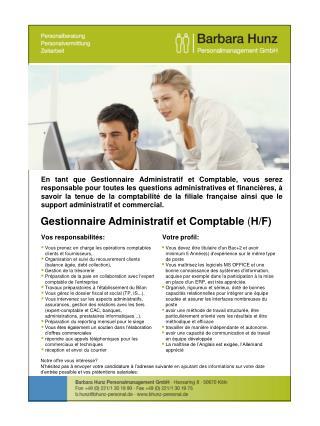 Gestionnaire Administratif et Comptable ( H/F)