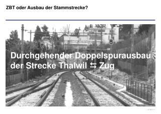 Durchgehender Doppelspurausbau  der Strecke Thalwil    Zug