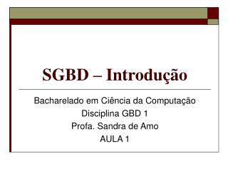 SGBD – Introdução