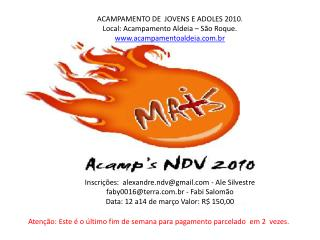 ACAMPAMENTO DE  JOVENS E ADOLES 2010.