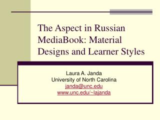 The Aspect in Russian MediaBook: Material Designs and Learner Styles