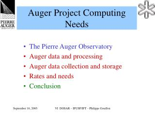 Auger Project Computing Needs
