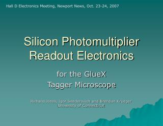 Silicon Photomultiplier Readout Electronics