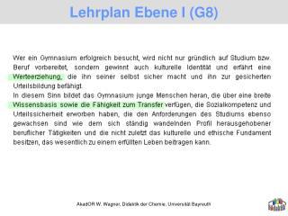 Lehrplan Ebene I (G8)