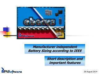Manufacturer independent Battery Sizing according to  IEEE
