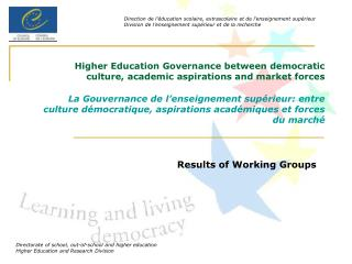 Results of Working Groups