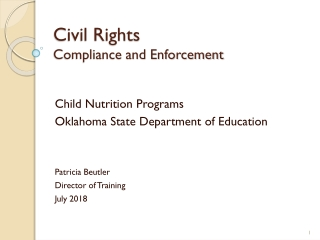 CIVIL RIGHTS REQUIREMENTS IN THE CACFP