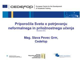 Priporočila Sveta o potrjevanju neformalnega in priložnostnega učenja  (December 2012)