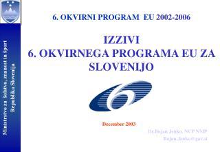 6. OKVIRNI PROGRAM  EU  2002-2006 IZZIVI  6. OKVIRNEGA PROGRAMA EU ZA SLOVENIJO