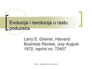 Evolucija i revolucija u rastu poduzeća