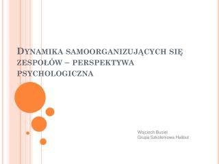 Dynamika samoorganizujących się zespołów – perspektywa psychologiczna
