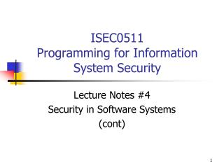 ISEC0511 Programming for Information System Security