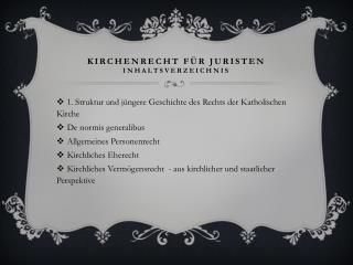 Kirchenrecht für Juristen Inhaltsverzeichnis