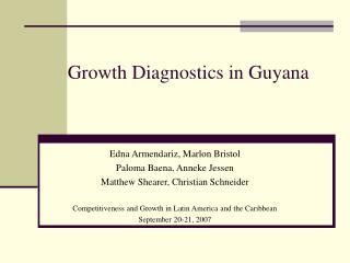 Growth Diagnostics in Guyana