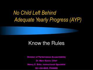 No Child Left Behind  Adequate Yearly Progress (AYP)