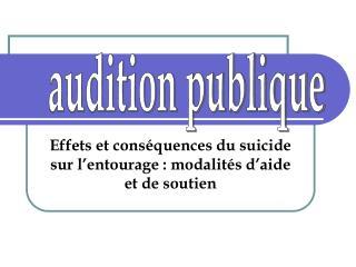 Effets et conséquences du suicide sur l'entourage : modalités d'aide et de soutien