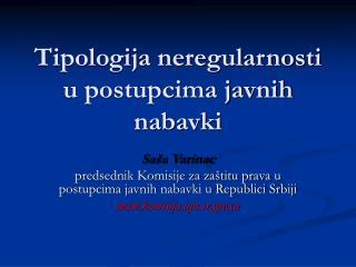 Tipologija neregularnosti u postupcima javnih nabavki