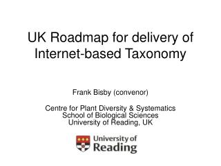 UK Roadmap for delivery of Internet-based Taxonomy