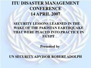 ITU DISASTER MANAGEMENT CONFERENCE 14 APRIL 2007