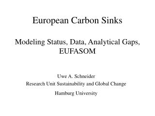 European Carbon Sinks Modeling Status, Data, Analytical Gaps, EUFASOM