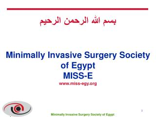 بسم الله الرحمن الرحيم Minimally Invasive Surgery Society of Egypt MISS-E miss-egy