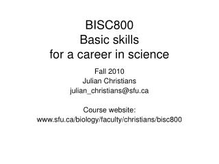 BISC800 Basic skills  for a career in science