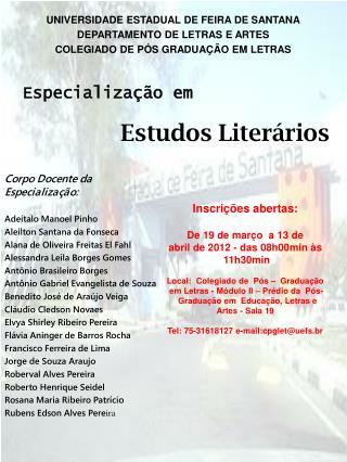 UNIVERSIDADE ESTADUAL DE FEIRA DE SANTANA DEPARTAMENTO DE LETRAS E ARTES