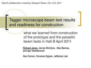 Tagger microscope beam test results and readiness for construction