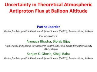 Uncertainty in Theoretical Atmospheric Antiproton Flux at Balloon Altitude