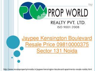 Jaypee Kensington Boulevard Resale Price 09810000375 Sector